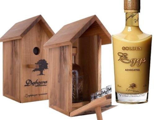 1 Vogelhäuschen + 4 Gläser + 1 Flasche Debowa Golden Cream Eierlikör a 0,7L Souvenierset Geschenk