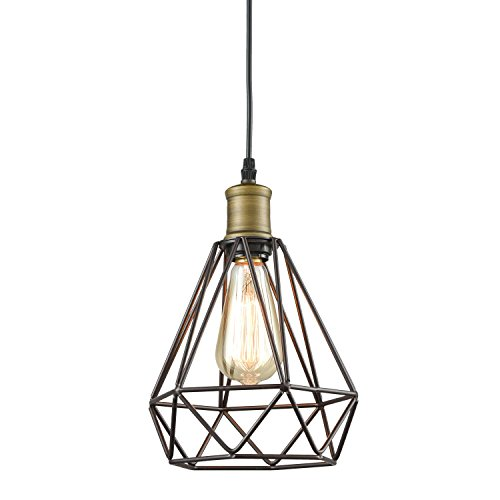 YOBO Lighting Vintage Oil Rubbed Bronze Polygon Wire Pendant Light Art Deco