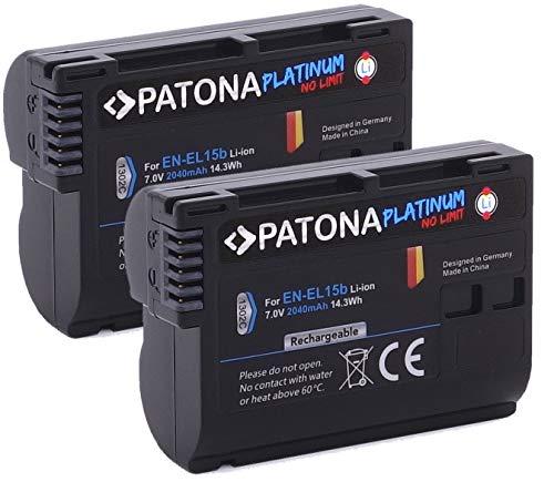 PATONA Batería para Pro Photo Nikon EN-EL15 2000mAh 2x ES-EL15b Platinum