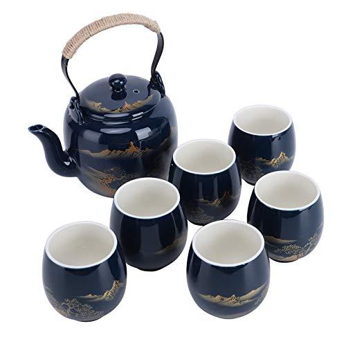 fanquare Juego de Té de Porcelana Vintage con Pintura de Paisaje, Servicio de Té Kungfu Hecho a Mano para Adultos, 1 Tetera con Infusor y 6 Tazas de Té