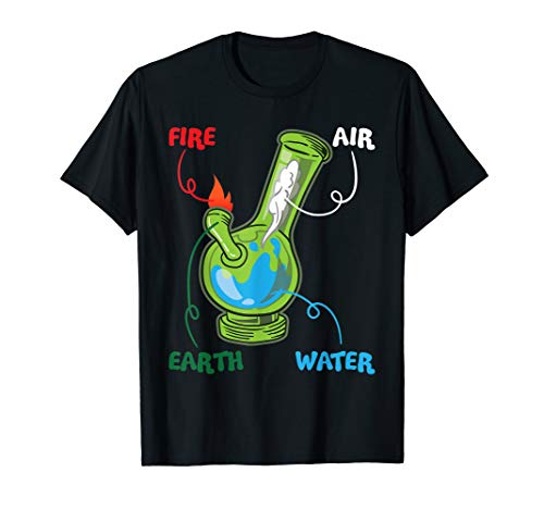 Bong Elements Fire Water Earth Air THC Weed Smoking Anatomy T-Shirt