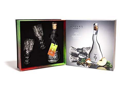 U'Luvka Vodka APPLE & CORIANDER The Spirit of Nature 40% - 100 ml in Giftbox with 2 glasses