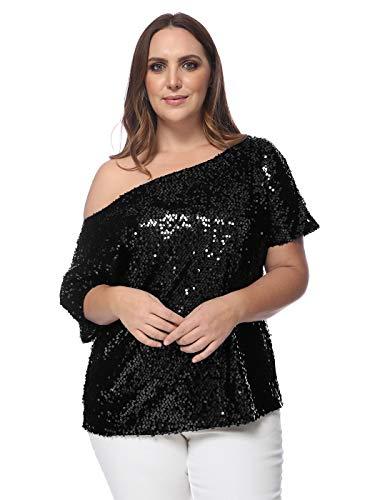 ANNA-KACI damska bluzka bez ramiączek, z cekinami, z krótkim rękawem, luźna bluzka