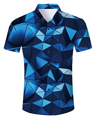 Funnycokid Herren Badehose Sommer Badeshorts mit Hawaiihemd Herren 3D Drucken Lässig Button Strandurlaub Hemd