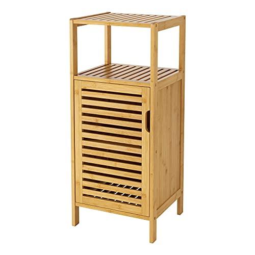 Armarios de Suelo de Baño Mueble Auxiliar con 2 Estantes y 1 Puerta para Almacenamiento para Baño Salón Pasillo Dormitorio Cocina de Bambú Color Natural 36.5x33x86 cm