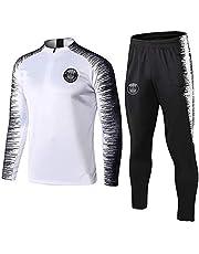 Weqenqing Paris sportkleding met lange mouwen, trainingspak voetbal, jersey met volledige ritssluiting, ademend sportkledingpak voor de lente en herfst, wit