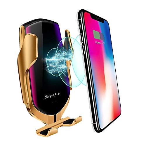 MMOBIEL Soporte Cargador inalámbrico teléfono para el Coche Qi Carga rápida 5/7.5/10W Sensor infrarrojo Rotación 360° con iPhone 12 Pro (MAX)/11/X Samsung S20/S10 Incl. Soporte conducto de Aire (Oro)