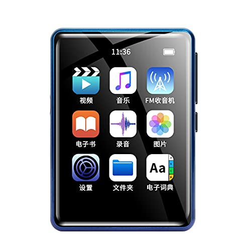 Full Touchscreen Monitor Mp4 Players,2.4 Inch 4G ROM Walkman Portable Music Player with Blueteeth 5.0,Mp3 Player with FM Radio/E-Book/Video Players Support up to 128GB (Blue, 2.4 Inch)