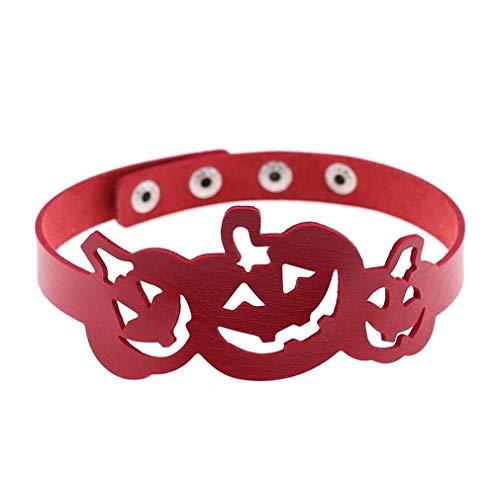 QYXJJ NoQYJ PU-Leder Halloween Kürbis Punk Rock Gothic O-Ring Spike Nieten Choker Halsband Halskette Frauen Kette Halsband Schmuck Taille Gürtel Metall Harness Körperkäfig 2