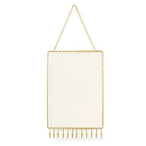Organizador de joyas para colgar,colgador de exhibición de pendientes de metal montado en la pared con ganchos,colgantes de malla dorada,soporte para pulseras,armario 28 * 18cm