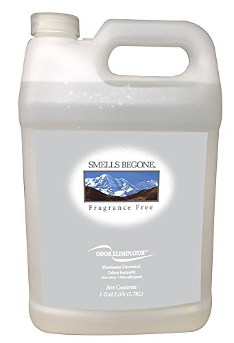 SMELLS BEGONE Air Freshener Spray - Odor Eliminator - Eliminates Odors from Trash Cans, Smoke, Cars, Pets & Boats - Fragrance Free (1 Gallon)