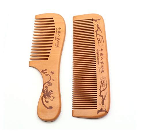 QiCheng & LYS: peine de madera ancho antiestático, peine de madera natural macho y hembra, dientes anchos con dientes finos
