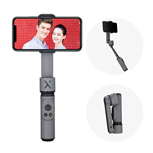 ZHIYUN Smooth-X Gimbal Stabilizer for iPhone Smartphone, Extendable Selfie Stick, Foldable Handheld iPhone Gimbal, Vlog & YouTube Video, Face/Object Tracking, Bluetooth Remote, Gesture & Zoom - Gray