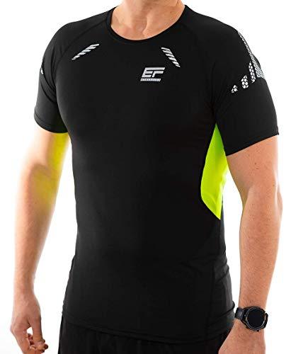 ef athletics Funktionsshirt Laufshirt Kurzarm schnelltrocknend und atmungsaktiv (Schwarz/Grün, L)