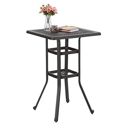 PHI VILLA 27.5' Cast Aluminum Patio Outdoor Frosted Surface Square Bar Height Bistro Table - 42' Pub Height
