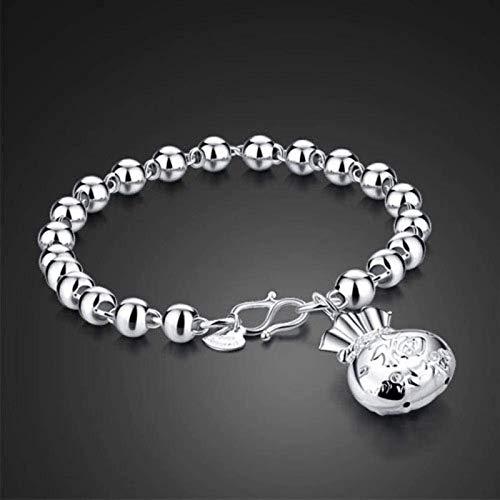 KEEBON Ladies Decorative Bracelet ,Fashion All-Match Lucky Money Bag Bracelet, S925 Silver Plated Simple Male and Female Bracelet Jewelry Fu 1 (Color : Fu 2)