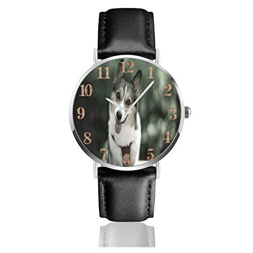 Reloj de Pulsera Perro Husky Siberiano Bonito y Duradero Correa de Cuero de PU Relojes de Negocios de Cuarzo Reloj de Pulsera Informal Unisex