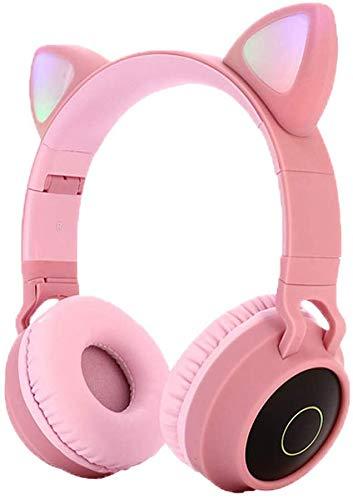 Cherish Bluetooth 5.0 Auriculares Lindo Gato Oreja Plegable Orejera Completa Estéreo Auriculares Inalámbricos con Micrófono Luz LED Soporte FM Radi