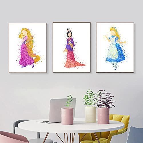 ZYQYQ Cuadros Decoracion Salon Modern Mural o acuarela princesa dibujos animados película cartel impresión hada niña niños habitación decoración pintura 40x60cmx3 sin marco