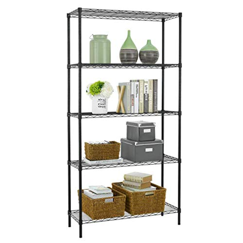 Wire Shelving Unit Heavy Duty Height Adjustable NSF Certification Utility Rolling Steel Commercial Grade for Kitchen Bathroom Office (Black, 36'Lx14'Wx72'H)