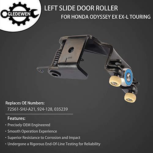 Left Slide Door Roller Assembly Driver Side Upper Center Male Roller | for 2005-2010 Honda Odyssey EX, EX-L, Touring model | Replaces# 72561-SHJ-A21, 72561SHJA21, 72561S-HJA21, 924-128