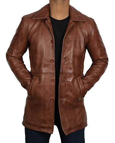 fjackets Genuine Brown Leather Jacket for Men - Distressed Lambskin Leather Coats | [1500027], Supernatural Tan, 3XL