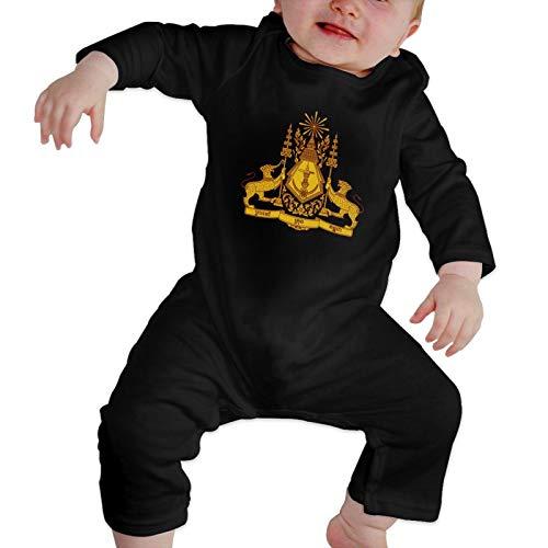 ZBBZHY Cambodian Buddha Flag Baby Boy Girl's Long Sleeve Romper Bodysuit Playsuit Black
