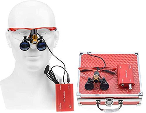 Lucky歯科 3.5倍 双眼ルーペ拡大鏡 メガネ式拡大鏡 虫眼鏡 クリップ式LEDヘッドライト 5W 充電式 腰にかけできる電池 フィルター付き 装着便利 収納アルミボックス付き (赤)