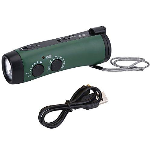 Alomejor Radio à manivelle Lampe de Poche Multifonctions, à manivelle LED Camping d'urgence Lampe de Poche Radio Lampe de Poche Chargeur de téléphone Vert