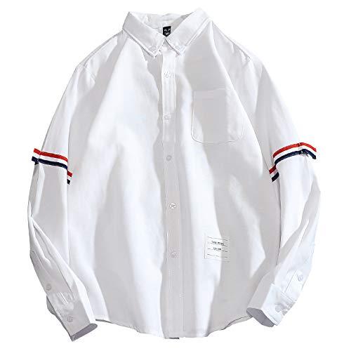 Camisa con Cuello Vuelto para Hombre, Moda a Rayas, Manga Larga, Ajuste Holgado, cómoda Camisa Informal, Camisetas de Calidad para Primavera y otoño Small