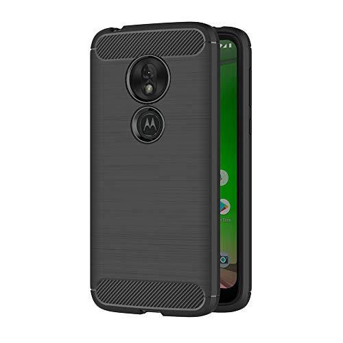 AICEK Compatible Motorola Moto G7 Play Hülle, Schwarz Silikon Handyhülle für Moto G7 Play Schutzhülle Karbon Optik Soft Hülle (5,7 Zoll)