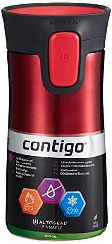 Contigo Thermobecher Pinnacle Snapseal Edelstahl Isolierbecher, Kaffebecher to go, auslaufsicher, spülmaschinenfester Deckel BPA-frei, 300 ml, Rot