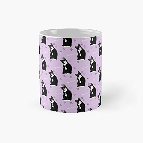 Tuxedo Cat Pattern Classic Mug - Unique Gift Ideas For Her From Daughter Or Son Cool Novelty Cups 11 Oz.