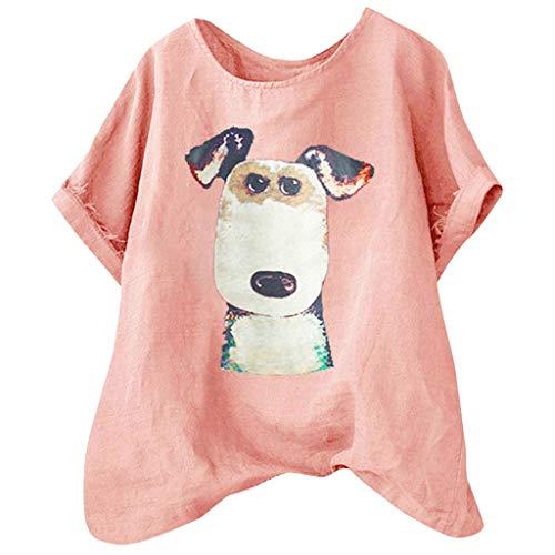 TUDUZ Blusas Mujer Manga Corta Verano Camisas Camiseta de Algodón y Lino con Estampado de Perro de Dibujos Animados (Rosado, L)