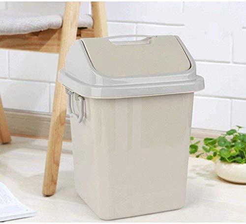 Plastic prullenbak, kaptafel en aanrecht Badkamer-met zwenkbare deksel, ideaal Trash Can for badkamer (Kleur: Roze, Maat: 12L) Leuke en praktische vuilnisbak. (Color : Khaki, Size : 7L)