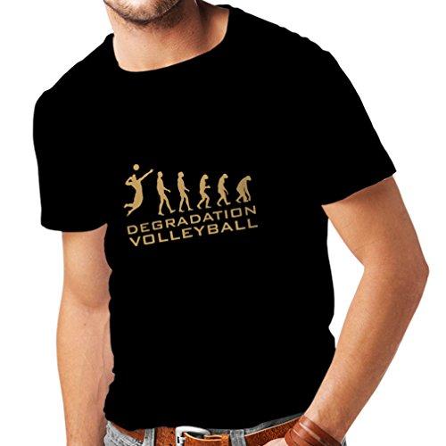 lepni.me Camisetas Hombre Degradación del Juego de Voleibol, Regalo de Humor para Jugadores de Deportes (Medium Negro Oro)