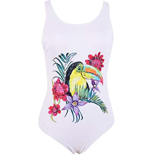 DarkCom Dames eendelige bloemen vogel houder badpak met rug U-vorm dames zwempak bikini