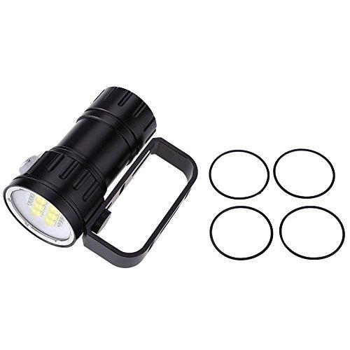 Raguso 3.7V 28800Lm LED Buceo Impermeable Linterna de Buceo Fotografía Disparo Luz de Relleno 80m Linterna Antorcha Luces sumergibles con Soporte de Soporte