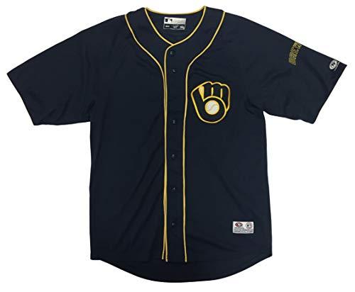 DYNASTY Milwaukee Brewers Adult Men's Alternative Logo Full Button Jersey (Medium) Navy