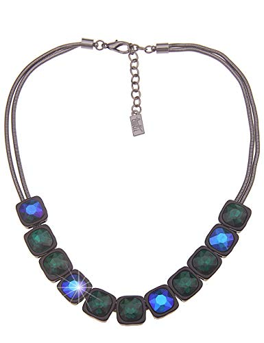 Leslii Damen-Kette Statement-Kette Glas-Steine Collier Kurze Halskette Schwarze Modeschmuck-Kette in Schwarz Blau Grün