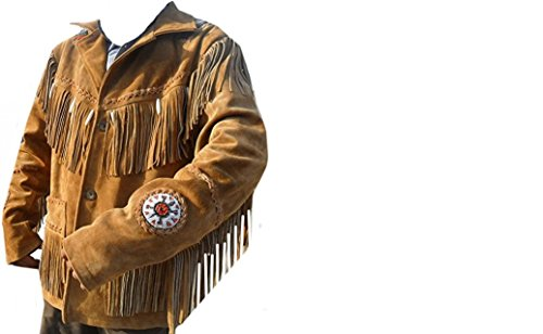 COCOBEE Western Cowboy Real Suede Leather Jacket with Fringe for Sale Quality Jackets (XL) Black