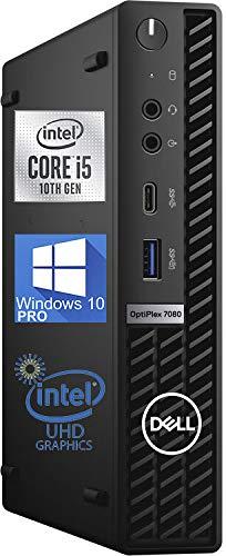 Dell OptiPlex 7080 Micro Desktop Computer – 10th Gen Intel Core i5-10500 Upto 4.5 GHz - 32GB RAM 256GB NVMe SSD, DisplayPort 4K Monitor Support, HDMI, AX Wi-Fi, Bluetooth - Windows 10 Pro