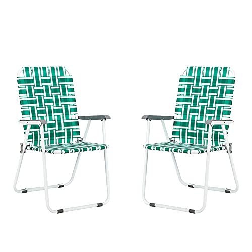 HomVent Patio Folding Web Chair Set, 2 Pack Folding Camping Chair Beach Chair, Portable Web Chair Patio Pool Beach Lawn Chair for Indoor/Outdoor (Light Green)