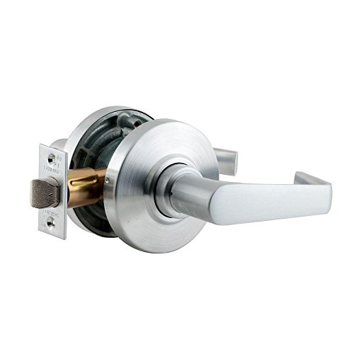 Saturn Lever Design Entry Function Turn//Push Button Locking Schlage commercial AL53BDSAT626 AL Series Grade 2 Cylindrical Lock Satin Chrome Finish