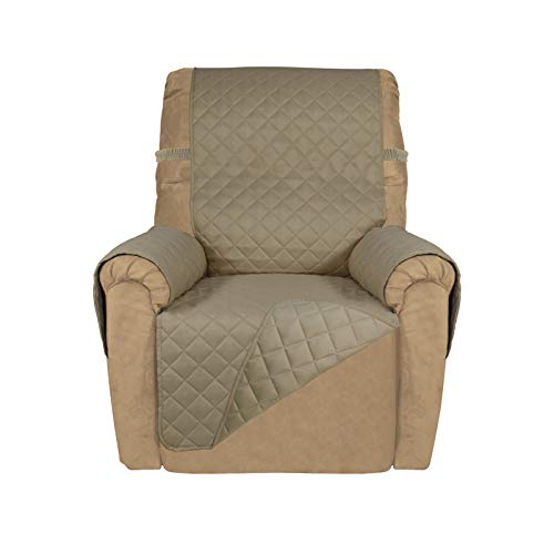 PureFit Reversible Quilted Recliner Sofa Cover, Water Resistant Slipcover Furniture Protector, Washable Couch Cover with Elastic Straps for Kids, Dogs, Pets (Recliner, Beige/Beige)