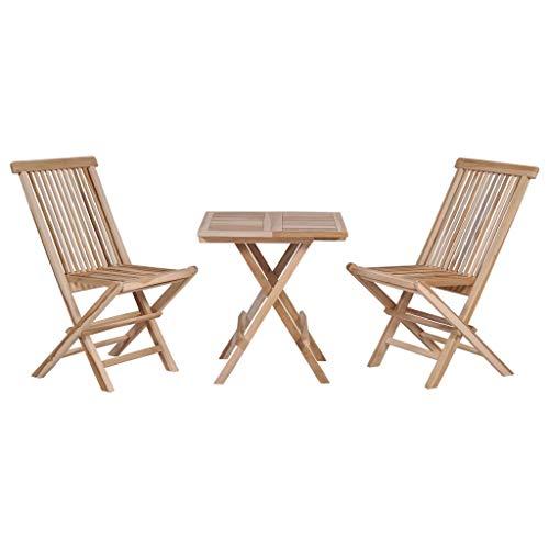 yorten Bistro-Set 3-TLG. Klappbar Gartenmöbel Set 1 Klapptisch und 2 Klappstühle Garten Bistrotisch mit Stühlen Holz Massives Teak