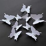 LZHLMCL Vinilos De Pared Decorativos 100 Piezas De Una Sola Capa Tridimensional Mariposa Blanca Decoración 3D Fotografía De La Boda Pintura De La Pared De La Ventana Se Puede Colorear Pvc Etiqueta De