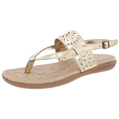 Price comparison product image b.o.c. Womens Clearwater Faux Leather Metallic Flat Sandals Gold 8 Medium (B, M)