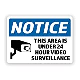 2-Pack Notice 24 Hour Video Surveillance Vinyl Decal Sticker   7-Inch by 5-Inch   Premium Quality Vinyl Decal   Laminated with UV Protective Laminate   PD2736