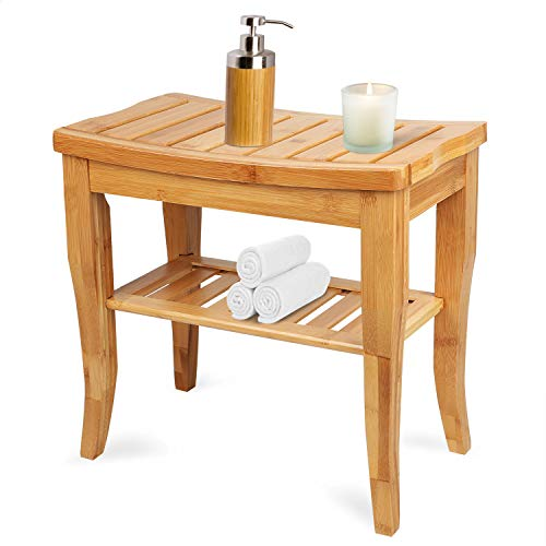 Hossejoy Bamboo Shower Bench Seat Wood Spa Bath Luxury Organizer Stool Shower Chair with Storage Shelf, Perfect for Indoor or Outdoor (19''x10.2''x17.7'')
